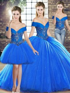 Affordable Sleeveless Brush Train Lace Up Beading Quinceanera Dress