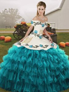 Stunning Floor Length Ball Gowns Sleeveless Teal Quinceanera Dress Lace Up