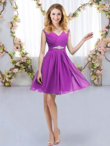 Most Popular Purple Empire Belt Vestidos de Damas Zipper Chiffon Sleeveless Mini Length