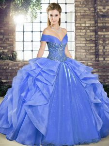 Sleeveless Floor Length Beading and Ruffles Lace Up Quinceanera Gown with Blue