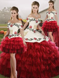Decent Wine Red Sleeveless Organza Lace Up Sweet 16 Dress for Military Ball and Sweet 16 and Quinceanera