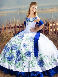 Blue And White Ball Gowns Satin and Organza Off The Shoulder Sleeveless Embroidery and Ruffles Floor Length Lace Up Quinceanera Gown