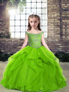 Tulle Side Zipper Off The Shoulder Sleeveless Floor Length Little Girl Pageant Gowns Beading and Ruffles