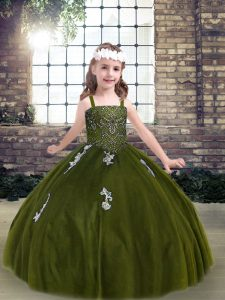 Low Price Tulle Sleeveless Floor Length Little Girls Pageant Dress Wholesale and Appliques