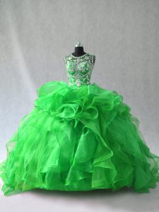 Green Organza Lace Up Quinceanera Gown Sleeveless Beading and Ruffles