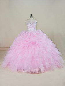 Spectacular Sleeveless Organza Brush Train Backless Quince Ball Gowns in Pink with Beading and Ruffles