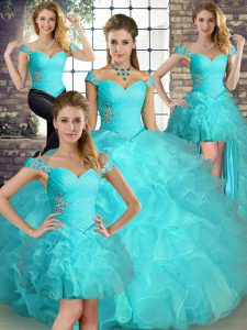 Fashion Off The Shoulder Sleeveless Lace Up Quinceanera Gowns Aqua Blue Organza