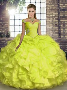 Floor Length Yellow Sweet 16 Dresses Off The Shoulder Sleeveless Lace Up
