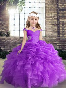 Purple Ball Gowns Organza Straps Sleeveless Beading and Ruffles and Pick Ups Floor Length Lace Up Little Girls Pageant Gowns