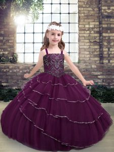 Purple Lace Up Straps Beading and Ruffled Layers Little Girl Pageant Gowns Sleeveless