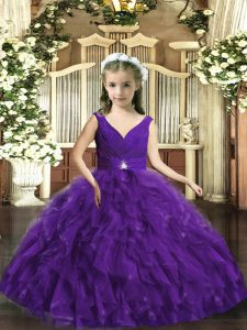 Stunning Ball Gowns Pageant Dress Toddler Purple V-neck Organza Sleeveless Floor Length Backless