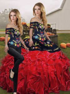 Inexpensive Red And Black Off The Shoulder Neckline Embroidery and Ruffles Vestidos de Quinceanera Sleeveless Lace Up