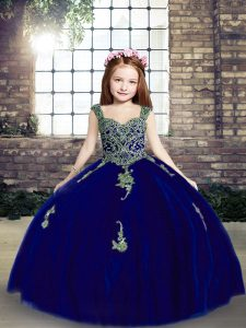 Straps Sleeveless Lace Up Kids Formal Wear Royal Blue Tulle
