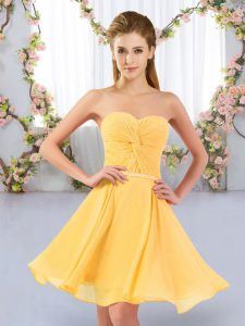 Pretty Chiffon Sweetheart Sleeveless Lace Up Ruching Quinceanera Dama Dress in Gold