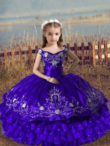 Satin and Organza Off The Shoulder Sleeveless Lace Up Embroidery and Ruffled Layers Little Girls Pageant Dress Wholesale in Purple