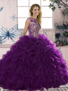 Edgy Floor Length Lace Up Vestidos de Quinceanera Purple for Military Ball and Sweet 16 and Quinceanera with Beading and Ruffles