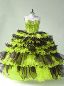 Yellow Green Sweetheart Lace Up Beading Sweet 16 Quinceanera Dress Sleeveless