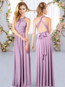 Lavender Criss Cross Dama Dress Ruching Sleeveless Floor Length