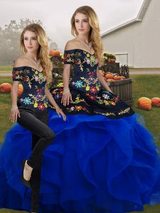 Blue And Black Two Pieces Tulle Off The Shoulder Sleeveless Embroidery and Ruffles Floor Length Lace Up Quinceanera Gown