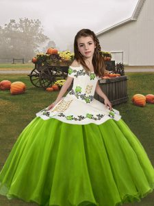 Green Organza Lace Up Kids Formal Wear Sleeveless Floor Length Embroidery