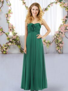 Dark Green Sweetheart Lace Up Ruffles Dama Dress Sleeveless