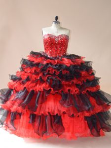 Inexpensive Red And Black Lace Up Quince Ball Gowns Beading and Ruffled Layers Sleeveless Floor Length