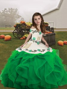 Hot Sale Floor Length Lace Up Glitz Pageant Dress Green and In with Embroidery and Ruffles