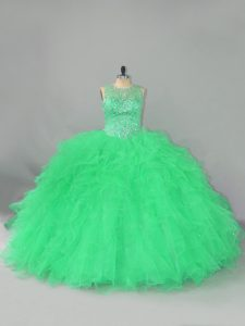 Romantic Green Scoop Lace Up Beading and Ruffles Vestidos de Quinceanera Sleeveless