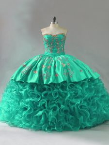 Green Sleeveless Court Train Embroidery and Ruffles Vestidos de Quinceanera