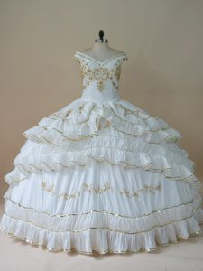 Hot Selling White Sleeveless Beading and Embroidery Floor Length 15 Quinceanera Dress