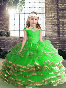 Classical Little Girl Pageant Dress Party and Wedding Party with Beading and Ruching Straps Sleeveless Lace Up