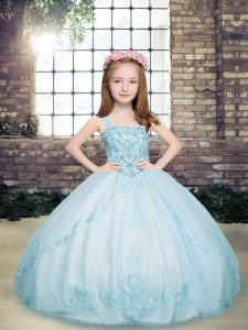 Sleeveless Tulle Floor Length Lace Up Girls Pageant Dresses in Light Blue with Beading