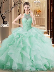 Artistic Halter Top Sleeveless Sweet 16 Dress Brush Train Beading and Ruffles Apple Green Organza