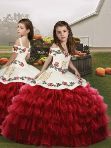 Red Sleeveless Organza Lace Up Girls Pageant Dresses for Party and Wedding Party
