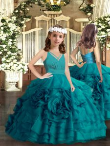 Teal Ball Gowns Organza V-neck Sleeveless Ruffled Layers and Hand Made Flower Floor Length Zipper Pageant Dress Wholesale
