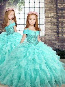 Floor Length Aqua Blue Little Girls Pageant Dress Straps Sleeveless Lace Up