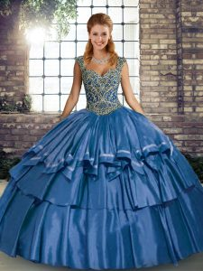 Taffeta Straps Sleeveless Lace Up Beading and Ruffled Layers Sweet 16 Quinceanera Dress in Blue