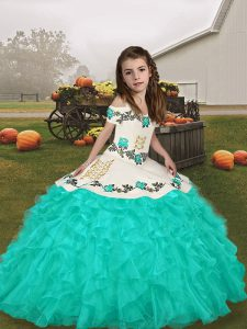 Turquoise Long Sleeves Lace Up Pageant Gowns For Girls for Party and Military Ball and Wedding Party