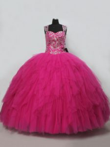 Cute Sleeveless Lace Up Beading and Ruffles Quinceanera Gown