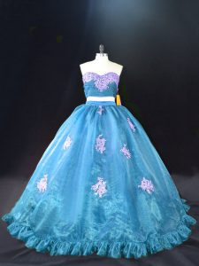 Beautiful Sweetheart Sleeveless Organza Sweet 16 Quinceanera Dress Appliques Brush Train Zipper