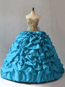 Glittering Lace Up Party Dress Aqua Blue for Sweet 16 and Quinceanera with Beading and Pick Ups Brush Train