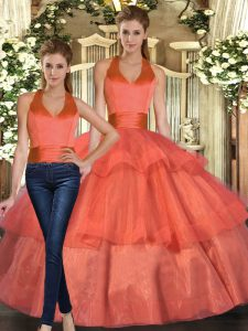 Cheap Floor Length Orange Quinceanera Dresses Organza Sleeveless Ruffled Layers