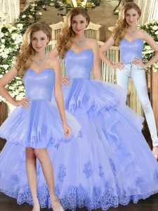 Lavender Sleeveless Floor Length Appliques and Ruffles Lace Up Sweet 16 Dress
