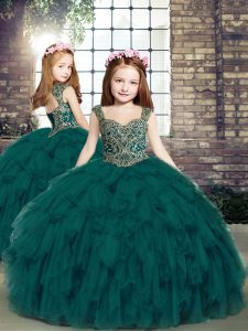 Teal Straps Lace Up Beading and Ruffles Kids Pageant Dress Sleeveless