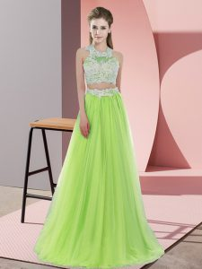 Discount Yellow Green Damas Dress Wedding Party with Lace Halter Top Sleeveless Zipper