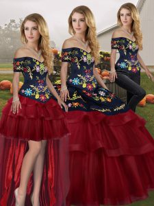Adorable Wine Red Sleeveless Brush Train Embroidery and Ruffled Layers Sweet 16 Dress