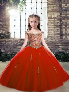 Floor Length Lace Up Pageant Dress for Womens Red for Party and Wedding Party with Beading and Appliques