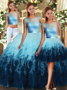 Multi-color Three Pieces Scoop Sleeveless Tulle Floor Length Lace Up Lace and Ruffles 15 Quinceanera Dress
