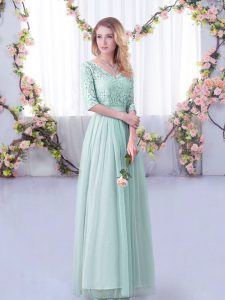 Enchanting Light Blue Empire Lace and Belt Quinceanera Dama Dress Side Zipper Tulle Half Sleeves Floor Length