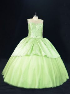 Ball Gowns Sweet 16 Quinceanera Dress Yellow Green Scoop Tulle Sleeveless Floor Length Lace Up